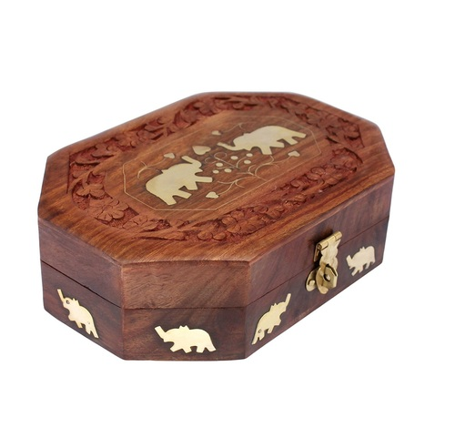 Desi Karigar Handmade Wooden Jewellery Box for Women Jewel Organizer Elephant Décor, 7 x 5 Inches