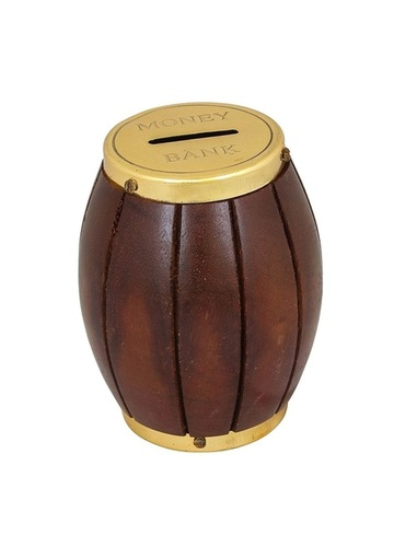 Desi Karigar Handicrafted Wooden Money Bank Barrel Style Kids Piggy Coin Box Gifts, 5.5 Inches