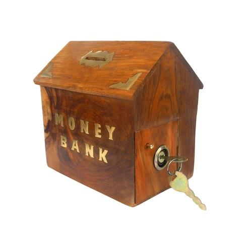 Desi Karigar Handicrafted Wooden Money Bank Home Style Kids Piggy Coin Box Gifts