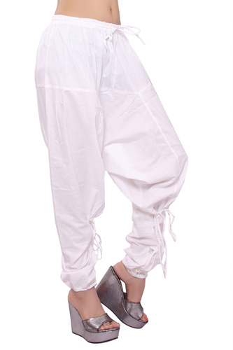 Cotton Women Solid White Polo Trouser