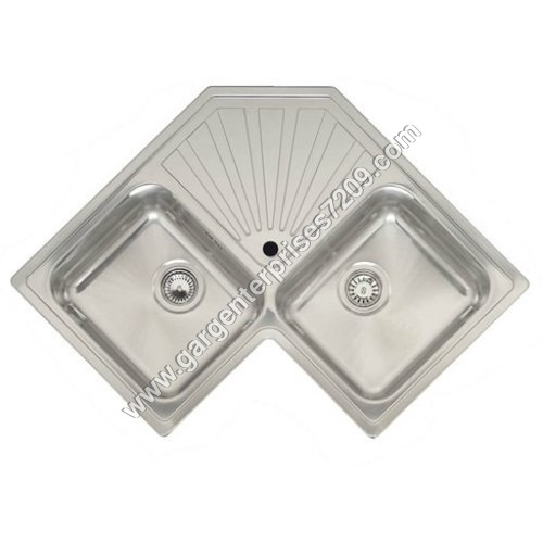 Double Bowl Stainless Steel Corner Sink