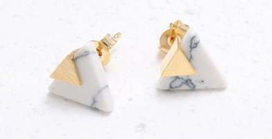 Howlite Gold Plated Earring