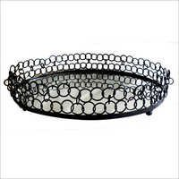 Oval Double Ring Gallery Tray W- Mirror Base