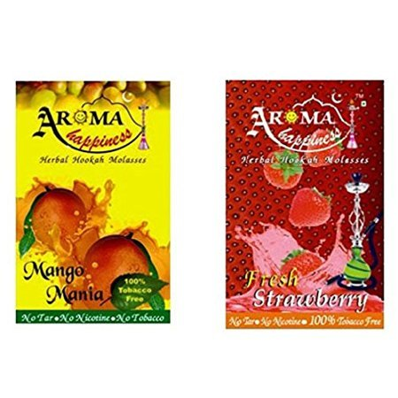 Desi Karigar Aroma Happiness Hookah Flavor - Pack of 2 (Mango - 50 g, Strawberry - 50 g)