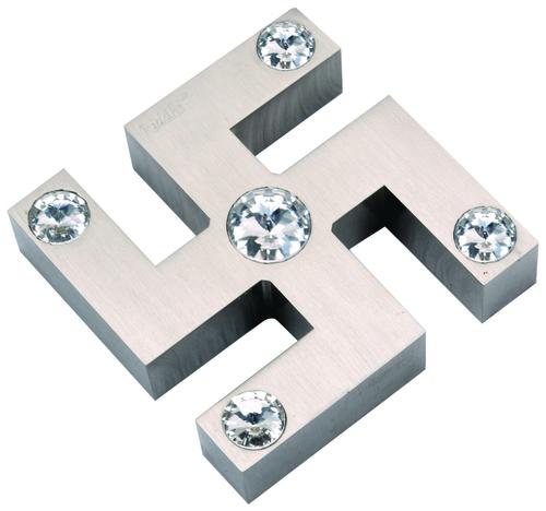Brass Crystal Swastik Mirror Cap