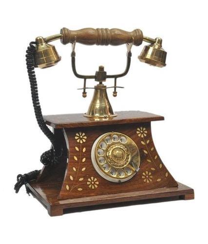 Desi Karigar Wooden and Brass Antique Maharaja Telephone