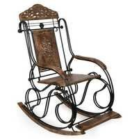 Desi Karigar Wrought Iron Carved rocking chair/relax chair/ thinking chair