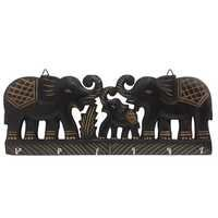 Desi Karigar Wooden Wall Hanging Key Hanger with Key hook in double Elephant shape