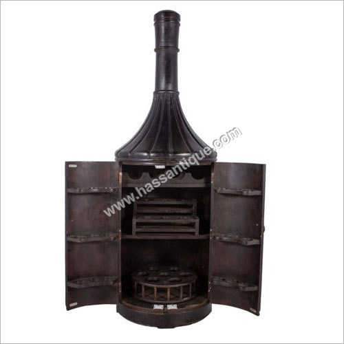 Teakwood Bottle Shape Bar Cabinet