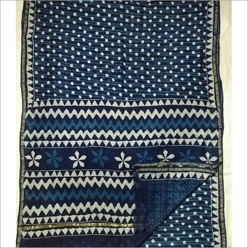 Indigo Print Chanderi Sarees with Blouse