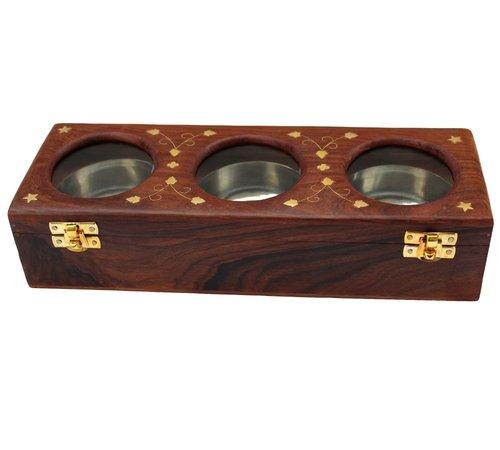Desi Karigar Handmade Item Wooden Dry Fruit Box with Glass, 3 Bowls