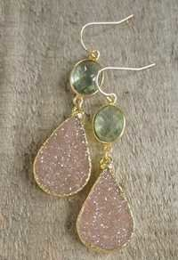 Druzy and Green Amethyst Earring