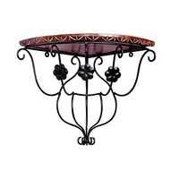 Desi Karigar Wood & Wrought Iron Hand Carved Leaf Design Wall Bracket/Wall Shelves Handmade