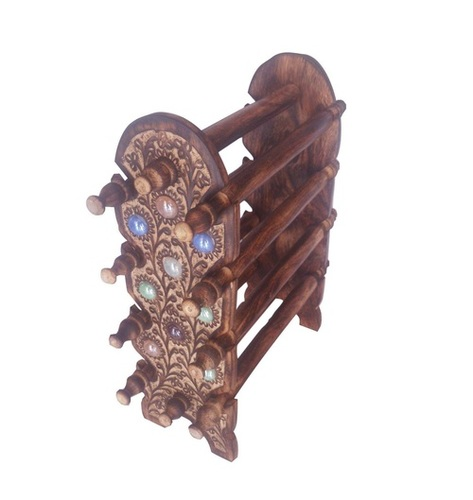 Desi Karigar Wooden Bangle Stand/Antique Look Wooden Bangle Holder