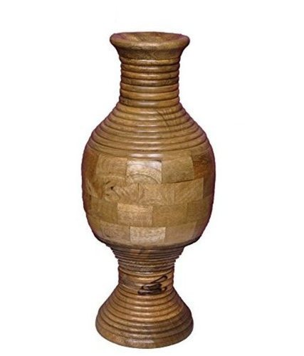 Desi Karigar Wooden Hand carving Flower Vase/Flower Pot