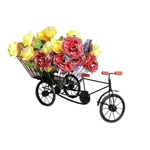 Desi Karigar Wrought Iron Handicraft Rikshaw Showpiece Home & Décor Flower Vase