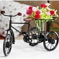 Desi Karigar Wrought Iron Handicraft Rikshaw Showpiece Home & Décor Vases