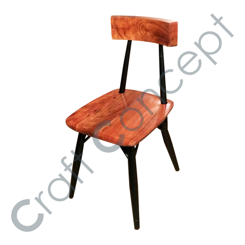 WOODEN BACK WITH BLACK METAL CHAIR