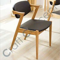 WOODEN CHAIR WITH BLACK LEATHER SEAT