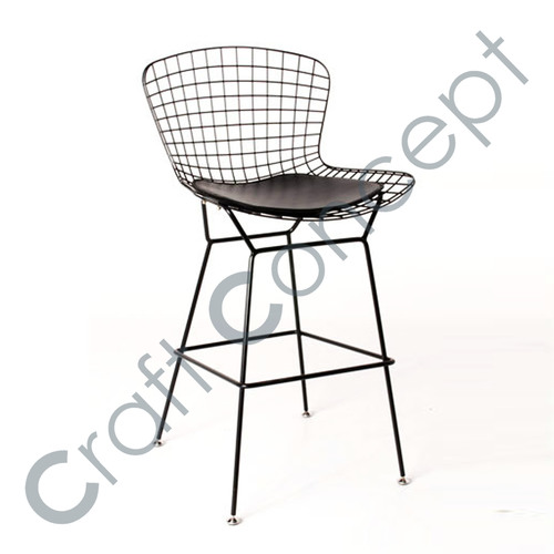IRON MESH BAR CHAIR WITH LEATHER SEAT