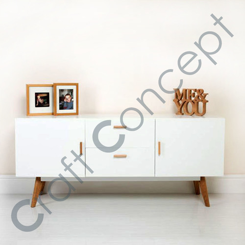 WHITE WOODEN SIDE BOARD