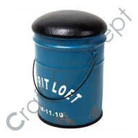 BLUE BUCKET STOOL WITH LEATHER SEAT