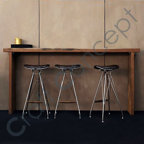 IRON BAR STOOL WITH LEATHER SEAT