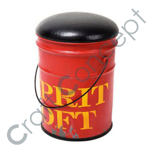 RED BUCKET STOOL WITH LEATHER SEAT