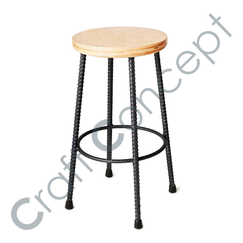IRON BAR STOOL WITH WOODEN SEAT