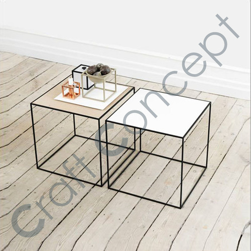 IRON COFFEE TABLE WITH MARBLE TOP
