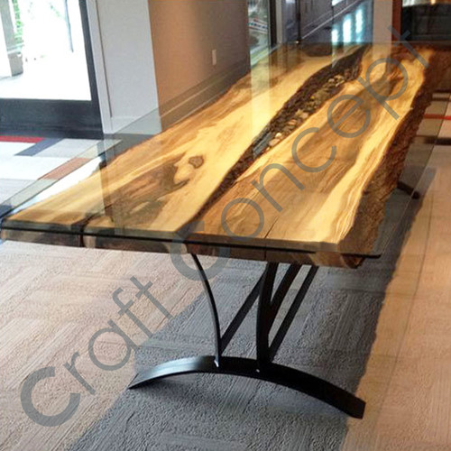LONG WOODEN DINING TABLE WITH CHROME GLASS TOP