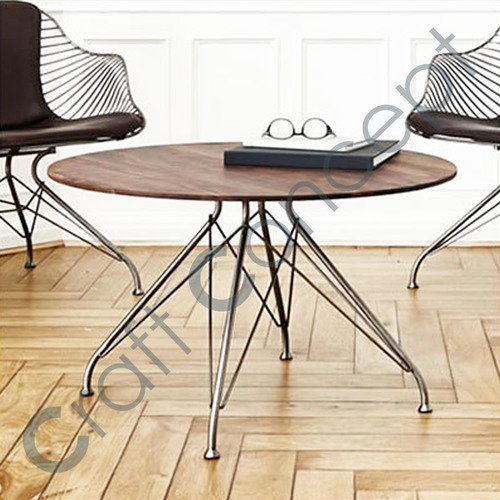 ROUND WOODEN WITH METAL LEGS COFFEE TABLE