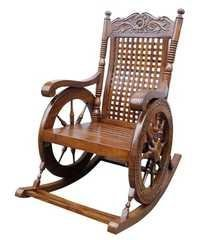 Desi Karigar Grandpa Rocking Chair Hand Caved (Brown, 43 X 24 X 37
