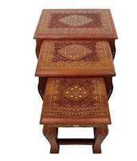 Desi Karigar Artist Wooden Brass Inlay work Table set/ Hand Made Stool set of 3