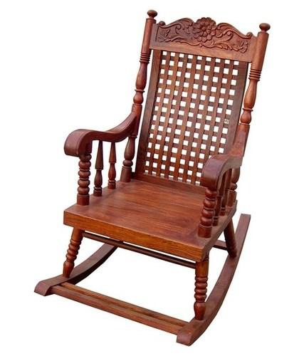 Desi Karigar Hand Carved Rocking Chair Matte Finish
