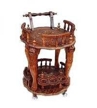 Desi Karigar Handcrafted Round Wooden Service Trolley Unique Hand work