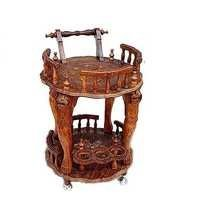Desi Karigar Wooden Handmade Service Trolley With Brass Inlay Work & Carving