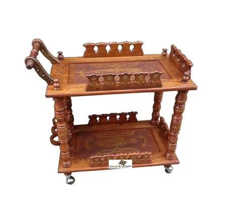 Desi Karigar Wooden Handcrafted Service Trolley/ Bar Service Trolley