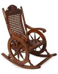 Desi Karigar Grandpa Rocking Chair Hand Caved (Brown, 43 X 24 X 37)