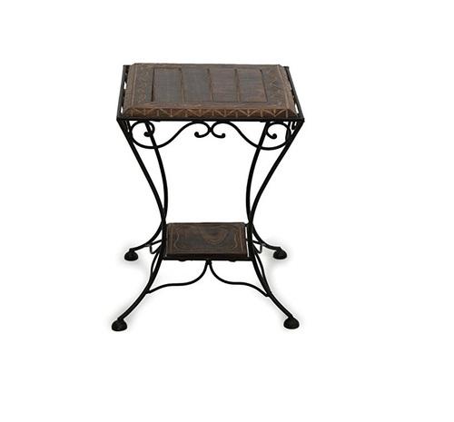 Desi Karigar Wooden & Wrought Iron Stool/Chair