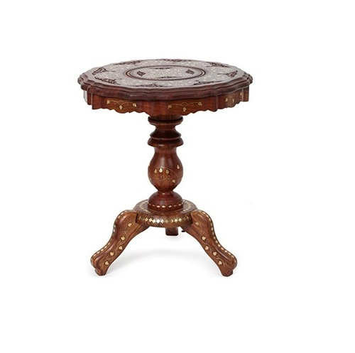 Desi Karigar Wooden Foldable Table With Brass Inlay Handwork