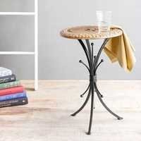 Desi Karigar End Table Walnut And Black