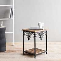 Desi Karigar Wooden And Iron End Table Walnut And Black Size(LxBxH-11X11X14.7) Inch