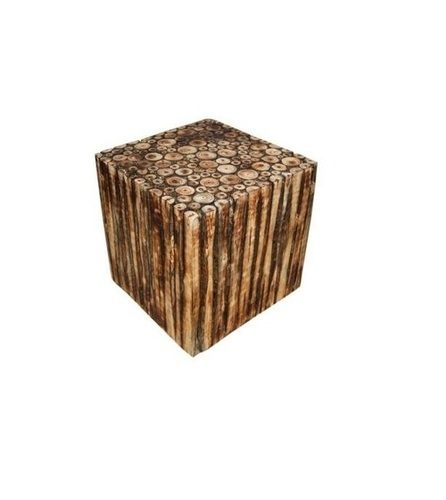Desi Karigar Wooden Square Shape Stool/Chair/Table Made From Natural Wood Blocks 12 inch