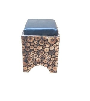 Desi Karigar Wooden Stool/Chair With Storage Made From Natural Wood Blocks