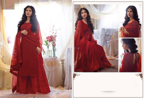 Buy Lovely Red Rose Designer Suit Online