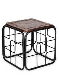 Desi Karigar Wood & Iron Cum End Table Size(Lxbxh-13X13X12) Inch