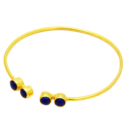 Gold Plated Lapis Lazuli Adjustable Bracelet