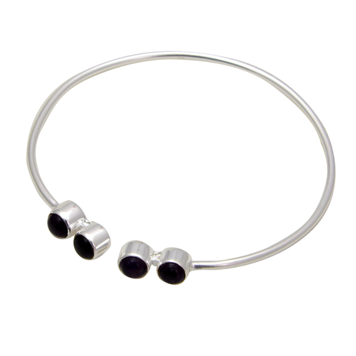 Black Onyx Sterling Silver Gemstone Adjustable Bracelet