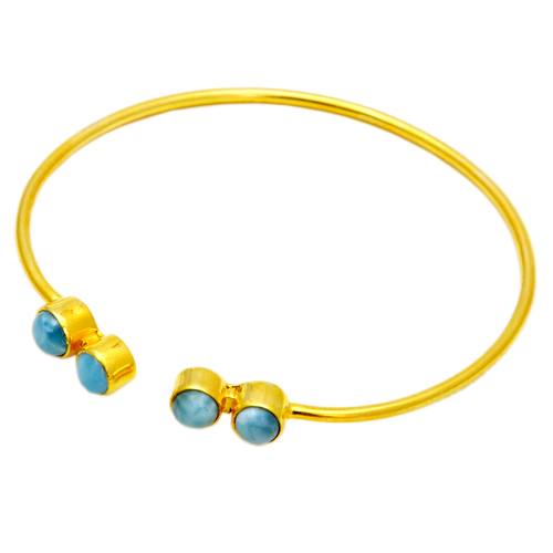 Larimar Round Gold Plated Adjustable Size Bracelet